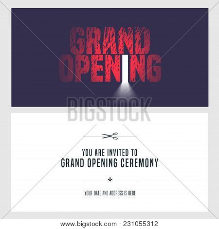 Grand Opening Vector Illustration, Invitation Card For New Store. Template Banner, Design Element Fo