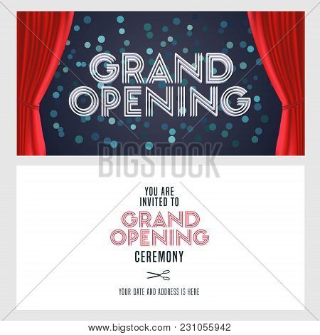 Grand Opening Vector Banner, Illustration, Invitation Card. Template Festive Invite Design With Red