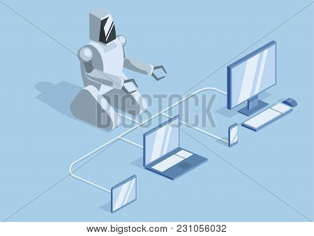 A Robot Connected By Wires To A Computer, Laptop And Mobile Gadgets. Robotics, Programming And Robot