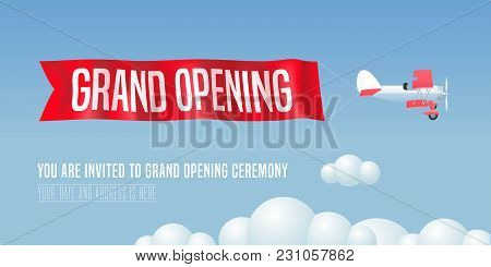 Vector Retro Airplane Design Element For Invitation Card To Grand Opening Event. Store Opening Soon