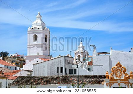 Lagos, Portugal - June 9, 2017 - Santo Antonio Church Bell Tower (igreja De Santo Antonio) In The Ol
