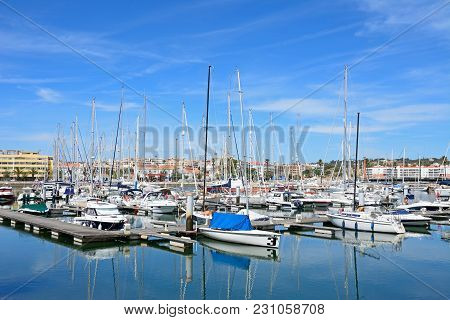 Lagos, Portugal - June 9, 2017 - View Of Boats And Yachts Moored In The Marina De Lagos, Lagos, Alga