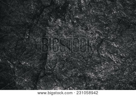 Closeup Of Dark Textured Background. Gray Rough Texture And Background For Design. Black Abstract Ba