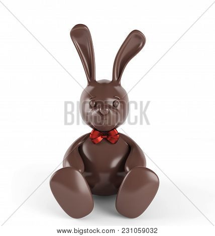 Chocolate Easter Bunny With Red Bow-knot. 3d Render. Isolated On White Background