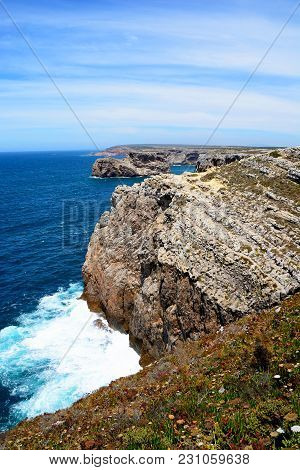 View Along The Rugged Coastline With Ocean Views, Cape St Vincent, Algarve, Portugal, Europe.