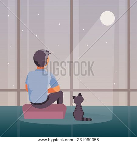 Sad And Lonely Man Sits At A Window And Looks At The Moon. Vector Illustration