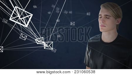 Digital composite of Email messages app icons connected and Businessman thinking and dark background