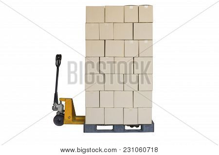 Cardboard Boxes On Old Pallet Truck Isolated On White Background With Clipping Path.