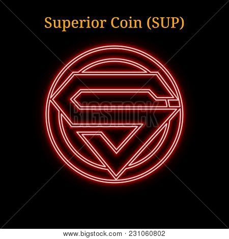 Red Neon Superior Coin (sup) Cryptocurrency Symbol. Vector Illustration Eps10 Isolated On Black Back