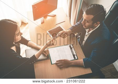 Boss Giving Job Contract Opportunity For New Employer