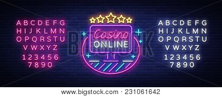 Online Casino Neon Sign Vector. Logo In Neon Style, Gambling Symbol, Light Banner, Bright Neon Night