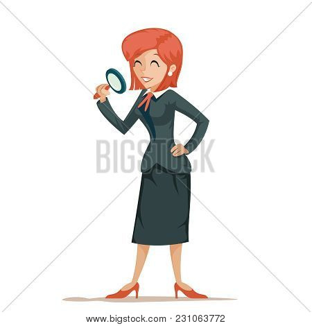 Businesswoman Character Magnifying Glass Decision Search Isolated Icon Design Cartoon Vector Illustr