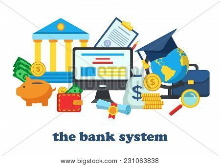 Icons For The Banking System. Bank Account Online Access Protection Operations Safety Consept. Moder