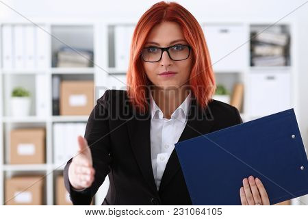 Businesswoman Offer Hand To Shake As Hello In Office Closeup. Serious Solution Friendly Support Serv