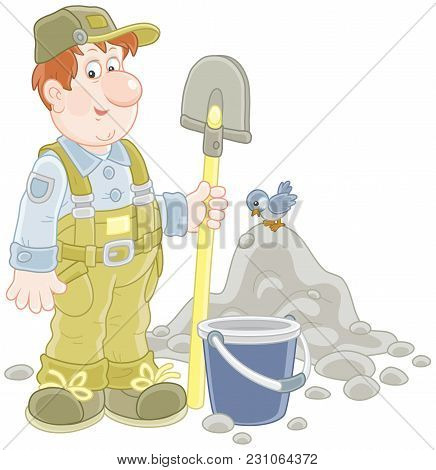 Smiling Worker With A Spade And A Bucket Near A Heap Of Ground, A  Vector Illustration In Cartoon St