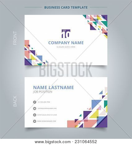 Creative Business Card And Name Card Template Geometric Triangle Overlay Colorful Stripe. Abstract C