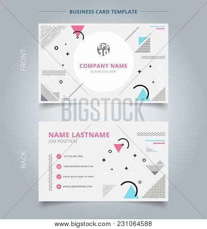 Creative Business Card And Name Card Template Geometric Composition Forms Modern Background With Dec