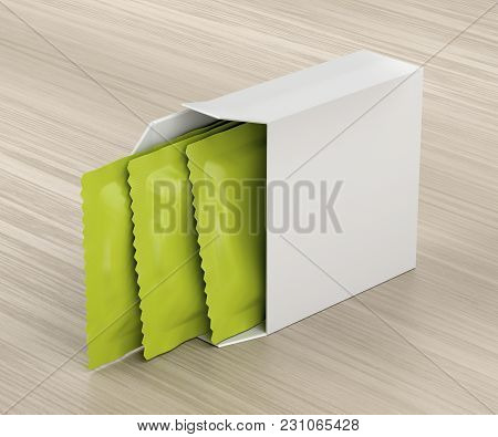 White Box With Three Condoms On Wooden Table, 3d Illustration