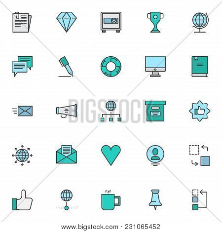 Business Elements Filled Outline Icons Set, Line Vector Symbol Collection, Linear Colorful Pictogram