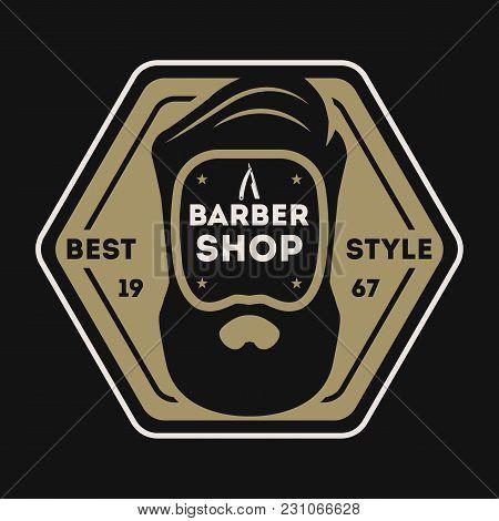 Barber Shop Vintage Isolated Label Vector Illustration. Hairdresser And Gentleman Symbols. Beard Clu