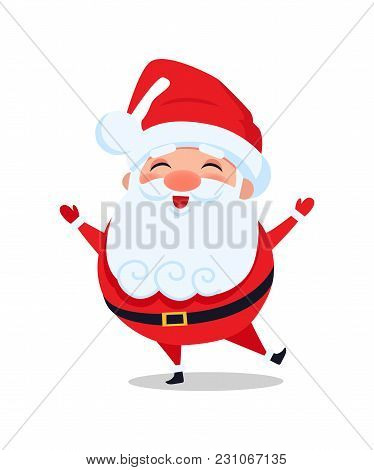Holly Santa Claus Stands On One Leg And Sing Carol Songs Vector Illustration Postcard With Cartoon C