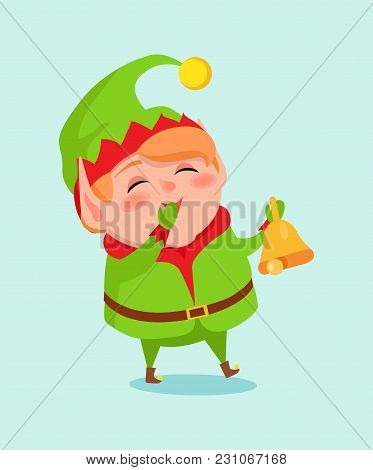 Cartoon Elf Close Mouth By Hand In Mittens Cause Of Laugh Ringing Bell By Other Arm Vector Illustrat