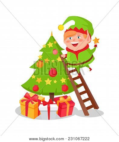 Elf Cartoon Character Decorate Christmas Tree Putting Star On Top Standing On Ladder, Many Gift Boxe