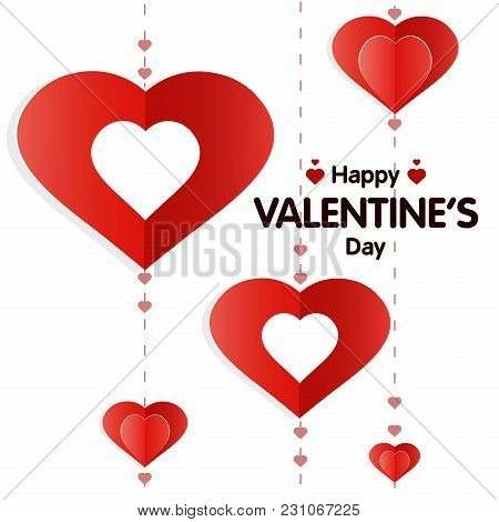 Vector Illustration Of Valentine S Day Greeting Card With Red Hearts On White Background. Origami St
