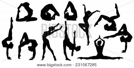 Gymnastics Poses Silhouette, Set Of Flexible Gymnast Exercise, Acrobat Back Bend And Hand Stand Pose