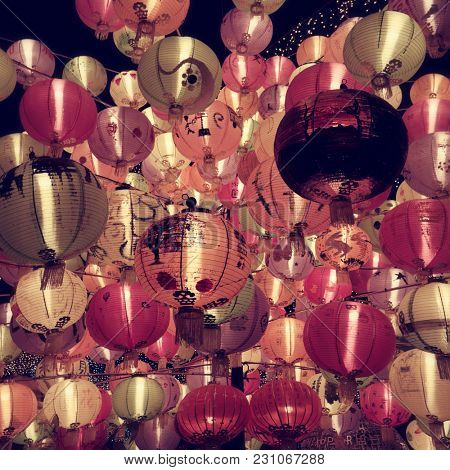 HONG KONG - October 2017: Colourful paper lanterns at Mid-Autumn Festival.