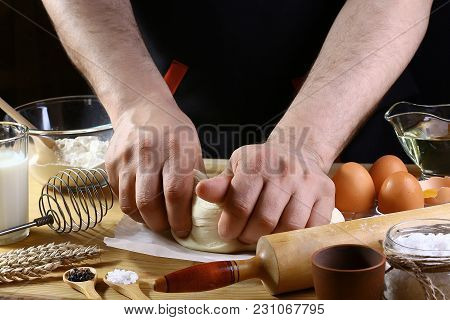 Baker Knead Dough Bread, Pizza Or Pie Recipe Ingredients With Hands, Food On Kitchen Table Backgroun