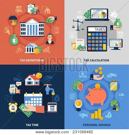 Flat Design Concept With Tax Department, Burden Calculation And Payment Time, Personal Savings Isola