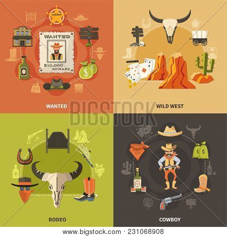 Cowboy Design Concept With Wild West, Wanted Bandit, Rodeo Elements Isolated On Color Background Vec
