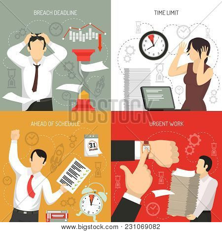 Meeting Deadlines 4 Flat Icons Concept With Working Ahead Schedule And Time Limits Breach Isolated V