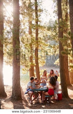 Group of friends hanging out at a table by a lake, vertical