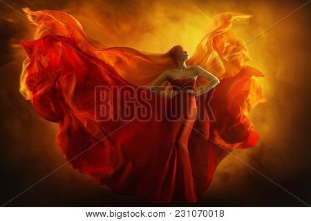Fashion Model Art Fantasy Fire Dress, Blindfolded Woman Dreams In Red Flying Gown, Girl Beauty Portr