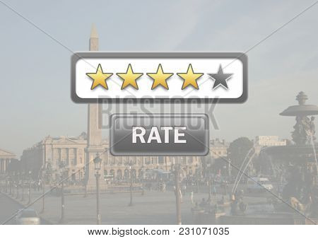 Digital composite of Rating stars and rate button with travel destination background