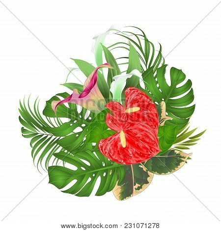 Floral Arrangement Bouquet With Tropical Flowers  With Beautiful Lilies Cala And Anthurium, Palm,phi