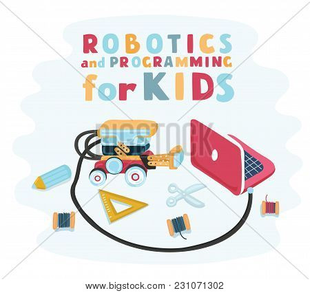 Vector Cartoon Illustration Of Staff For Designed Robotics For Children, Robot Designer.