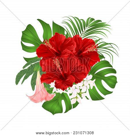 Bouquet With Tropical Flowers  Floral Arrangement, With Beautiful Red Hibiscus, Palm,philodendron An