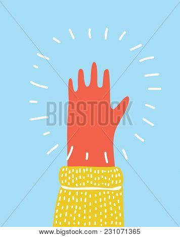Vector Cartoon Funny Colorful Raised Up Palm, Stretched Out Five Fingers Gesture. For Your Design, P