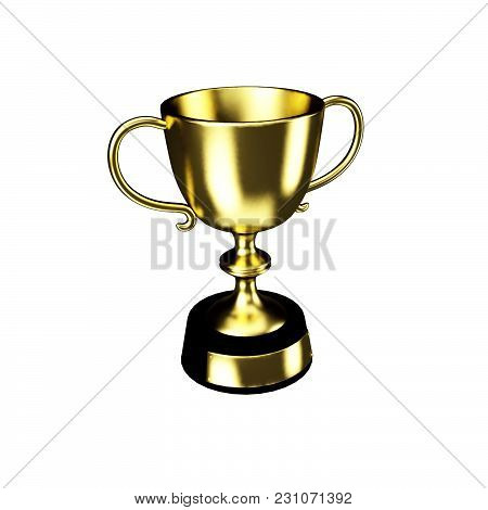 Gold Cup Set Isolated On A White Background No Shadows Easy To Edit 3d Illustration Render.