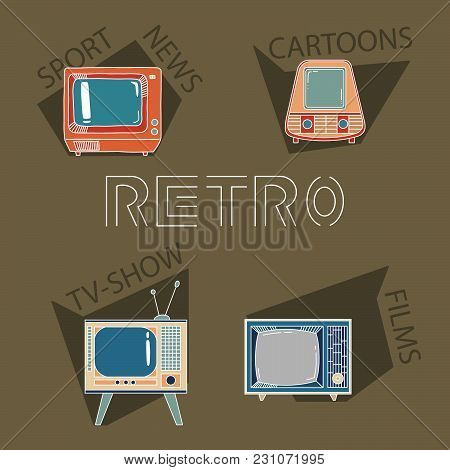 Retro Tv Elements. Four Different Television Set With Films, Sport, News, Cartoons And Tv-shows Text