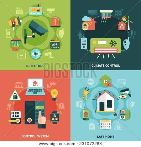 Home Security Flat Design Concept With Climate Control, Monitoring System, Detectors, Safe Property