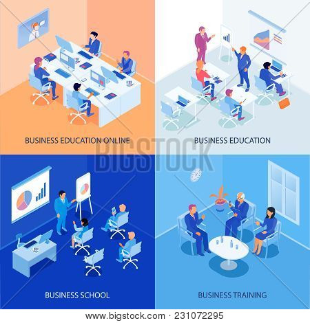 Business Education Isometric Design Concept With Online School, Discussions During Training, Lecture
