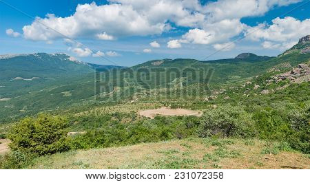 Spring Panoramic Landscape - View From Valley Of Ghosts To Mountains Near Alushta Resort, Crimean Pe