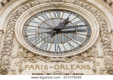 Paris, France, March 28 2017: View of the wall clock in D'Orsay Museum. D'Orsay - a museum on left bank of Seine, it is housed in former Gare d'Orsay in Paris, France