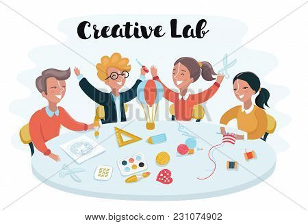 Vector Cartoon Illustration Children Studying At Desk And Make Creative Object On Workshop. Smart Ge