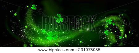St. Patrick's Day leaves on black background. Patrick Day backdrop decorated with shamrock leaves. Patrick Day pub party. Space for your text. Art design, Wide format banner