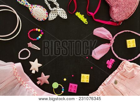 Top View Of The Girlish Spring-summer Accessories: Maid Of Honor Clothes And Accessories View From A